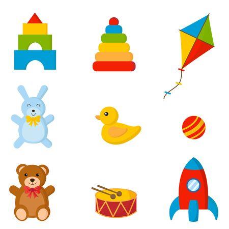 Set of colorful children toys. Illusztráció