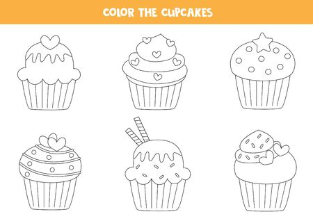 Color set of cute cupcakes. Coloring page for kids.  イラスト・ベクター素材