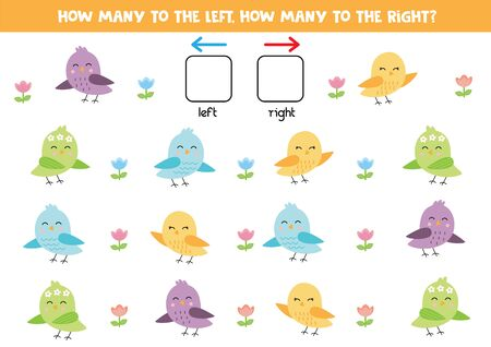 Cuántos pájaros van a la izquierda, cuántos a la derecha.