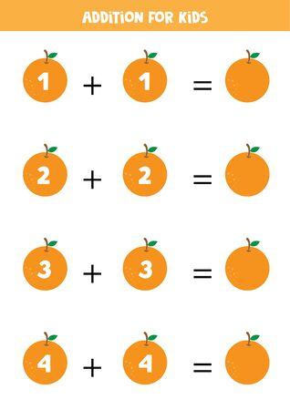 Ergänzung für Kinder mit Orangen.