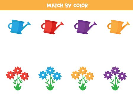 Match flowers and watering cans by color.
