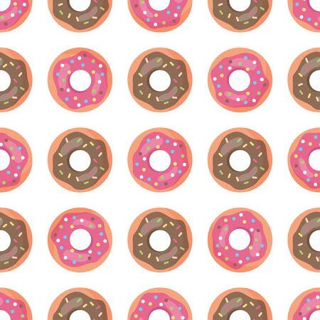 Cute cartoon seamless pattern with donuts. Sweet doughnuts.
