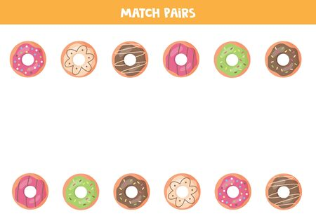 Matching game for kids. Sweet donuts collection. Educational game. Ilustração