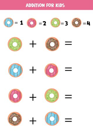 Addition of cartoon donuts for children. Math game for kids.