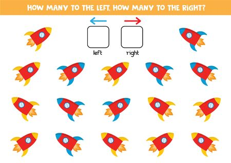 How many rockets go to the left and to the right, counting game for kids.