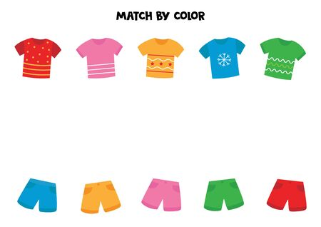 Match t shirts and shorts by color. Game for kids. Banco de Imagens - 138282196