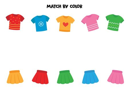 Match t shirts and girl skirts by color. Game for kids. Banco de Imagens - 138282028
