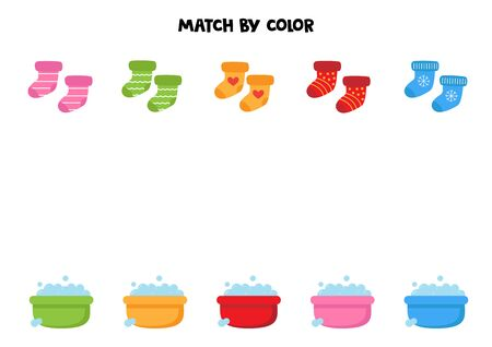 Match socks and soap water basins by colors. educational worksheet for kids. Banco de Imagens - 138281624