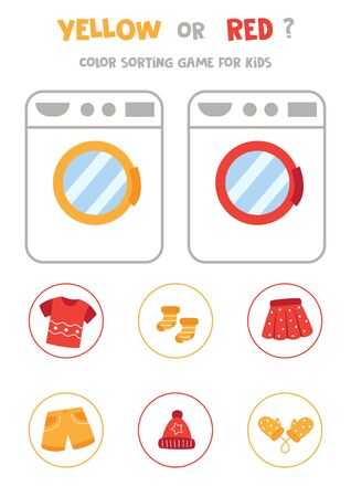 Color sorting game for kids. Yellow or red. Washing machine and colorful clothes.