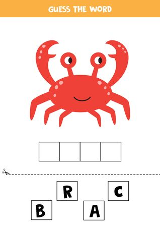 Guess the word crab. Spelling game for kids. Crossword for children. Educational worksheet.