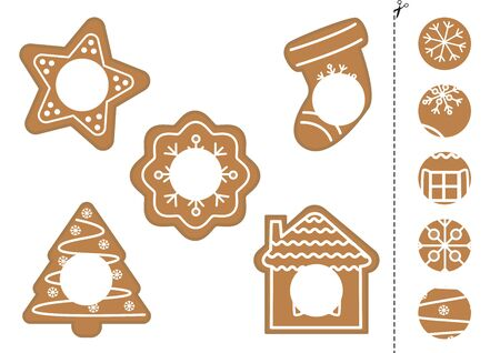 Find the correct parts of cute gingerbread cookies. Logical game for kids.