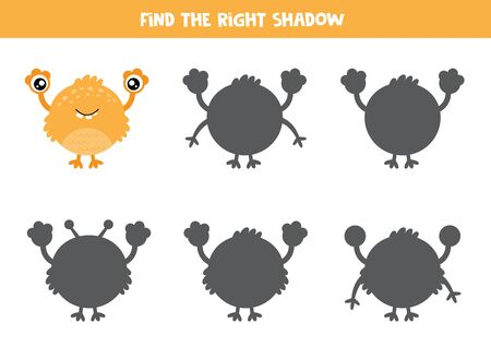 Find the right shadow of yellow cute cartoon monster. Educational game for kids.