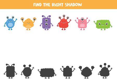 Trouvez la bonne ombre de chaque monstre. Ensemble de mutants mignons.