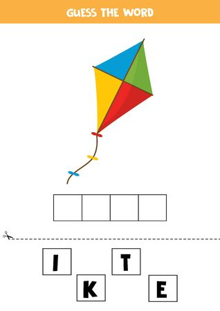 Guess the word kite. Elementary spelling game for kids. Ilustração