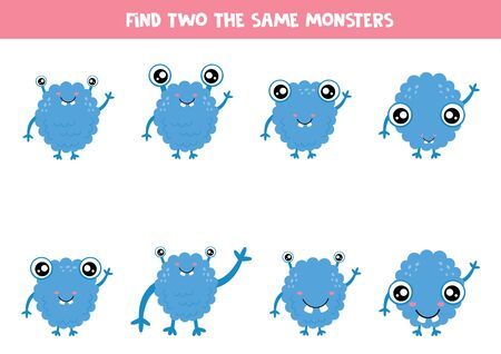 Find two the same cute cartoon monsters. Logical game for kids.
