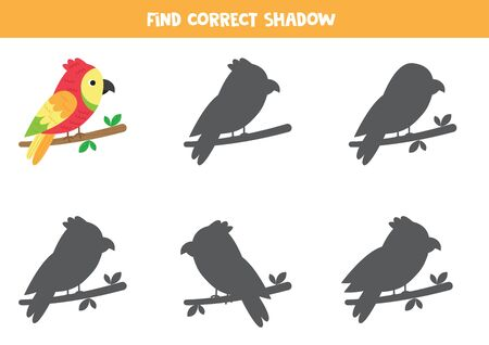 Find the correct shadow of cute cartoon parrot sitting on branch.