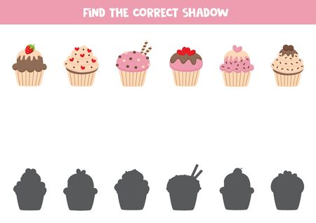 Find the correct shadows of cute saint valentines muffins. Logical game for kids. Иллюстрация