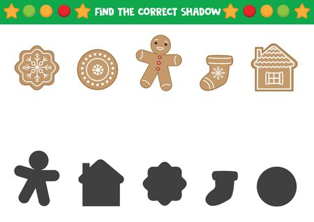 Find the right shadows of Christmas gingerbread cookie. Фото со стока - 139637573