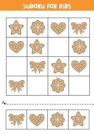 Sudoku for kids with cute cartoon gingerbread cookies. Logical game for kids.