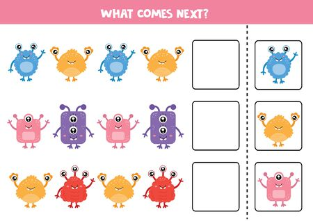 What comes next. Funny game with cute colorful monsters. Worksheet for kids.