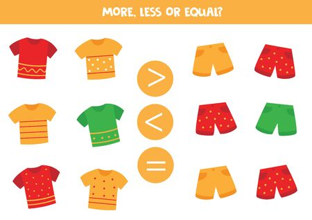 More or less. Count the amount of shorts and t shirts. Math game for kids.