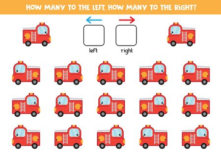 How many fire trucks go to the left and to the right. Counting game for kids. Illustration