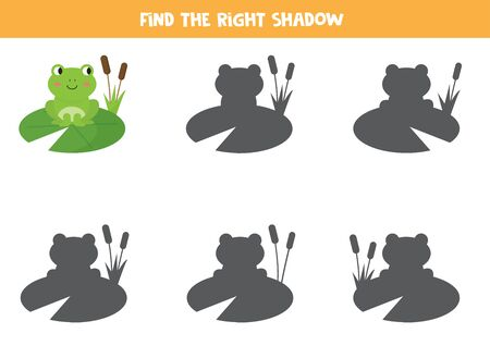 Find the right shadow of cute cartoon frog. Educational game for kids.