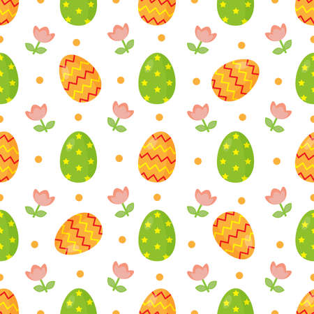 Seamless pattern with cute cartoon Easter eggs. Spring and holidays.