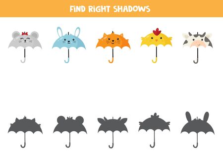 Find shadows of cute cartoon animal umbrellas. Logical game for kids.