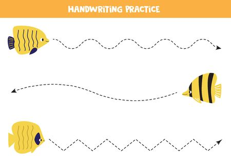 Handwriting practice with cute yellow sea fish. Tracing lines for kids. Marine life.