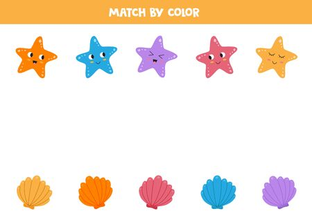 Match starfishes and shells by color. Educational game for kids. Color sorting. Vektorgrafik