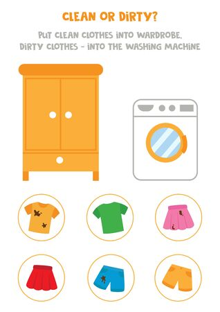 Clean or dirty. Sort clothes into wardrobe and washing machine. Logical game for kids.