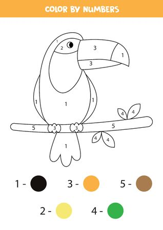 Color toucan bird by numbers. Educational game for kids. Coloring book. 向量圖像