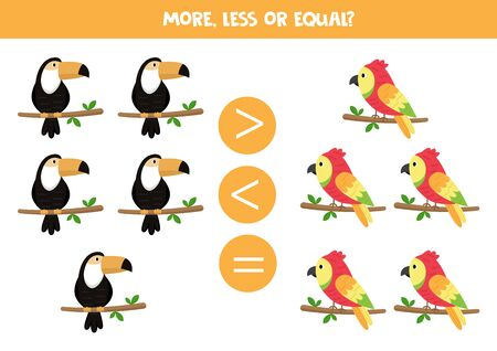 More, less or equal. Count and compare the number of toucans and parrots. Vektorové ilustrace