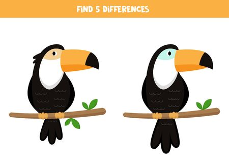 Find five differences between toucans. Educational logical game for kids.