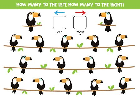 How many toucans look to the left and how many to the right. Logical game for kids.