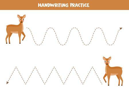 Handwriting practice with cute cartoon roe deer. Tracing lines for kids.