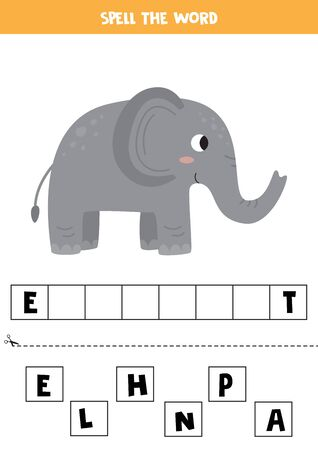 Spell the word elephant. Educational game for kids. Leaning to read. 矢量图像