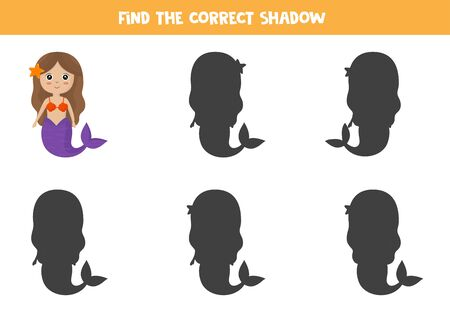 Find the right shadow of cute cartoon mermaid. Educational game for kids. 向量圖像