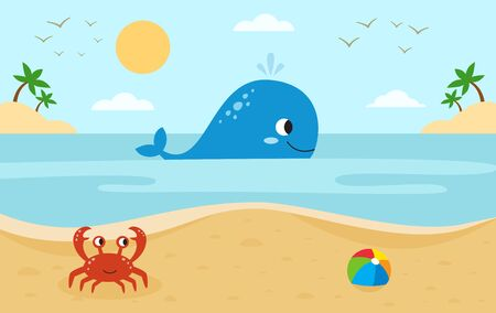 Sea landscape with cute cartoon animals. Big whale and red crab. Beach in summer. Vecteurs