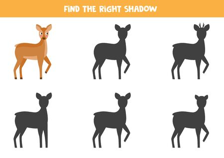Find the correct shadow of cute cartoon roe deer. Educational game for kids.