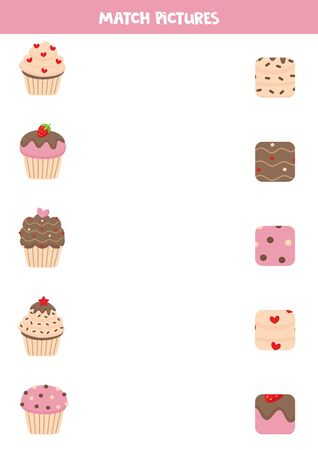 Match cupcakes and theirs patterns. Leaning game for kids. Illusztráció