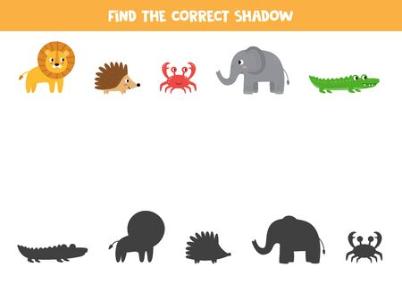 Find the correct shadow of wild animals. Logical game for kids. Ilustración de vector