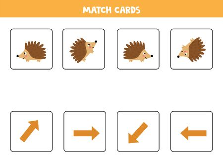 Spatial orientation with cute cartoon hedgehogs. Left, right, up or down.
