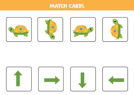 Spatial orientation with cute cartoon colorful turtles. Left, right, up or down.