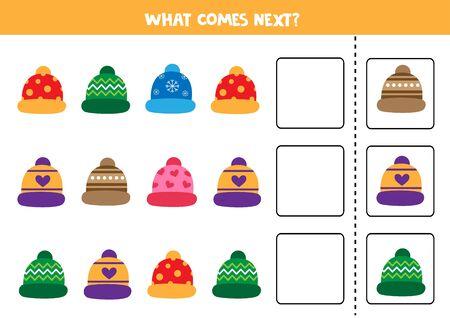 Jeu de logique Ce qui vient ensuite avec de jolies casquettes d'hiver colorées.
