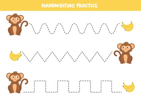 Handwriting practice for kids. Tracing lines with monkeys and bananas. Educational maze.