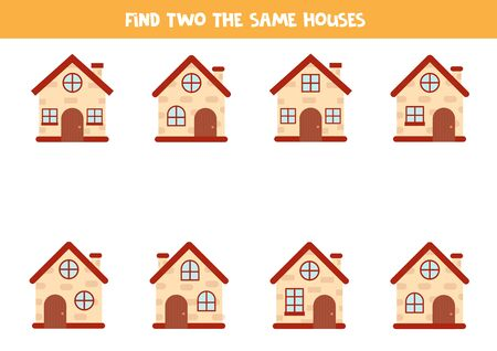 Find two the same brick houses. Logical game for children.