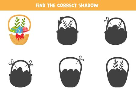Find the right shadow of Easter basket full of eggs. Printable game for children. Ilustración de vector