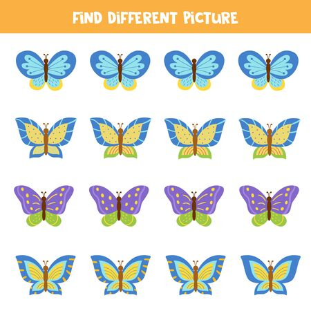 Find different picture in each row. Beautiful colorful butterflies.